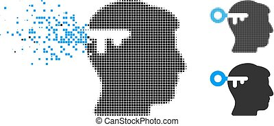 esprit, halftone, cassé, clã©, pixel, icône