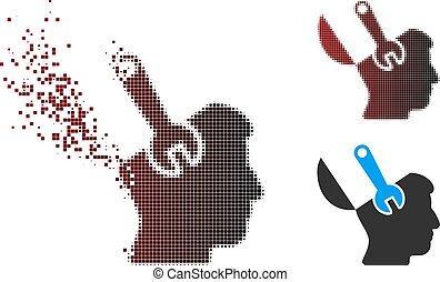 esprit, halftone, cassé, clé, chirurgie, pixel, icône