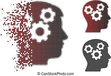 esprit, halftone, cassé, engrenages, pixel, icône
