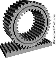espuela, piñón, rueda dentada, estante, rueda, engranaje, 3d
