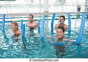 espuma, aqua, aeróbica, condicão física, rolos, classe,...