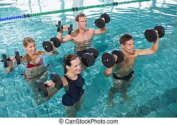 espuma, classe, aeróbica, dumbbells, aqua, condicão física, ...