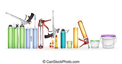 espuma, pintura, silicone, mockup, ilustração, realístico, construção, modelos, sealant, garrafas, cola, recipientes, 3d