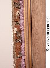 espuma, portas, usando, instalação, montagem, polyurethane