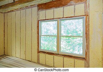 espuma, revestimento, pulverização, roof., isolação, polyurea