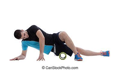 espuma, rolo, exercícios