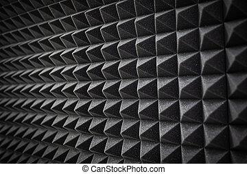 espuma, soundproofing, revestimento, close-up., estudio registro, detalhes