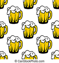 espumoso, padrão, seamless, cerveja, fundo, quartilho