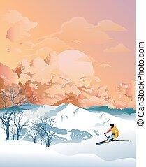 esquí, amanecer, montañas