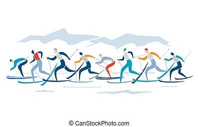 esquí, campo través, competición