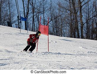 esquí, cuesta abajo, 023