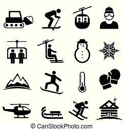 esquí, deportes del invierno, y, nieve, iconos