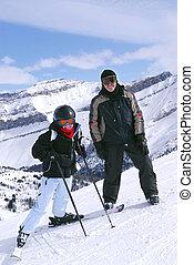 esquí, en, montañas