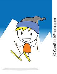 esquí, jugador