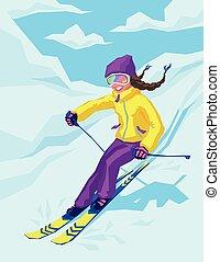 esquí, montañas., activo, mujer, joven