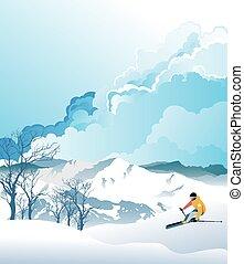 esquí, montañas