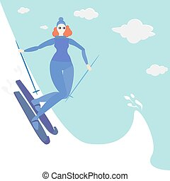 esquí, mujer, jengibre, joven