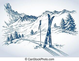 esquí, plano de fondo