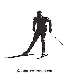 esquí, silueta, vector, cruz, esquiador, país, resumen