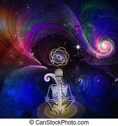esquelético, cosmos, medita, figura