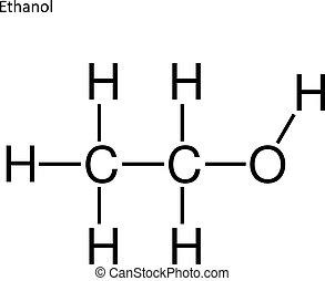 esquelético, fórmula, de, etanol
