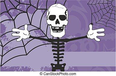 esqueleto, caricatura, dia das bruxas, fundo, abraço