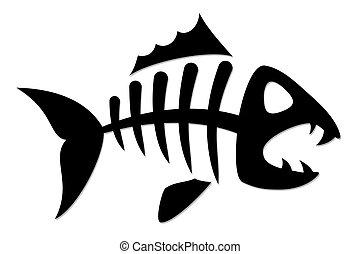 esqueleto, de, fish.