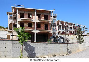 esqueleto, de, novo, subúrbio, cabana, casa, construção, é,...