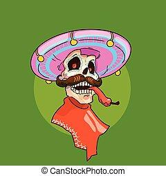 esqueleto, desgaste, mexicano, sombrero, méxico,...