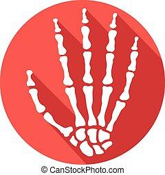 esqueleto humano, mão, apartamento, ícone