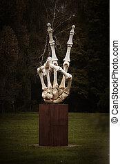 esqueleto, mano, símbolo, huesos, dedos, humano, victoria