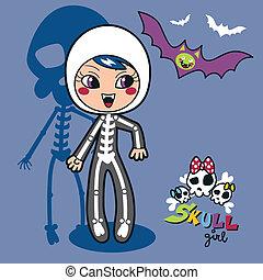 esqueleto, menina