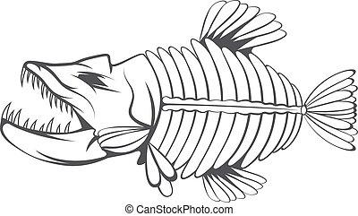 esqueleto, pez, tropical, vector, diseño, plantilla, ...