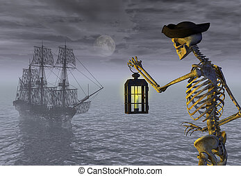 esqueleto, pirata, con, fantasma, barco