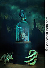 esqueleto, sino, corvo, jarro, vidro, mãos