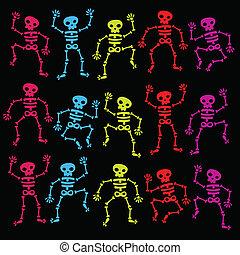 esqueletos, colorido, bailando