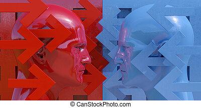 esquemático, imagem, de, confrontação