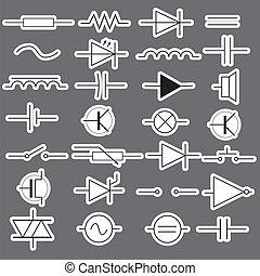esquemático, símbolos, em, elétrico, engenharia, adesivos,...