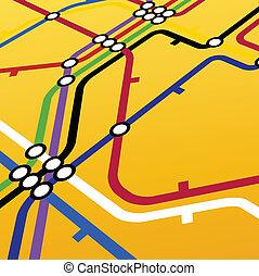 esquema, amarela, metro