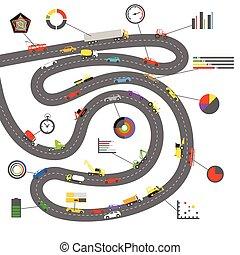 esquema, branca, elementos, transporte, infographoc
