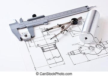 esquema, calibrador, mecánico