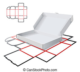 esquema, corte, cartón