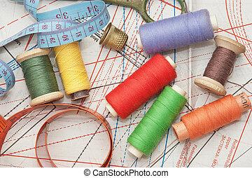 esquema, cosendo, vário, acessórios