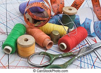 esquema, costura, vario, accesorios