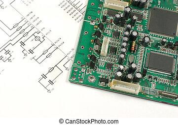esquema, electrónico, tarjeta de circuito impreso