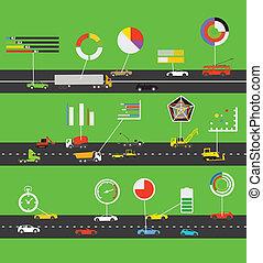 esquema, infographic, transporte, elementos