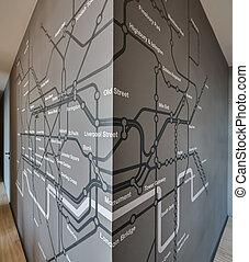 esquema, londres subterrâneo, ligado, a, cinzento, parede