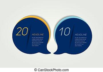 esquema, mapa, numerado, infographic, modelo, steps., timeline, 2, círculo, redondo