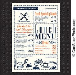 esquema, menu restaurante, quadro, almoço, desenho, retro