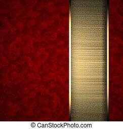 esquema, ouro, textura, listra, fundo, vermelho